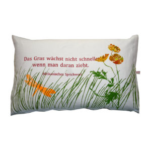 Cushions: The grass doesn't grow any faster.
