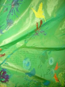 Dekostoffe: Acetat mit floralen Motiven